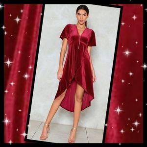 Nasty Gal High Low Can You Go Velvet Dress Sz: 4